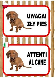 Dachshund Beware Of The Dog sign UWAGA ZŁY PIES ATTENTI AL CANE Plaque