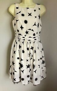BNWT Marks & Spencer Limited Collection White Dress With Black Shapes, Size 8