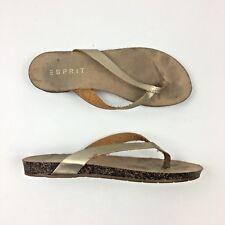 9c486f86e4ea Esprit Women s Metallic Gold Leather Thong Flip Flop Sandals Size ...