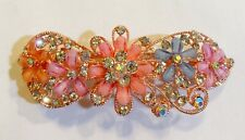 Floral Inspired Design Hair Barrette crafted with Rhinestones and Diamond Accent