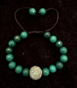 Jade/Shamballa Prayer Bead  Prosperity Adjustable Bracelet Unisex