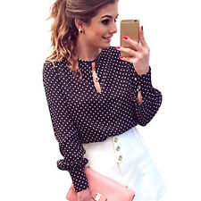 Women Polka Dot Vintage Chiffon Women Blouse Tops Ladies Long Sleeve Shirt HOT