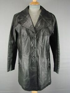 EXCELLENT CONDITION VINTAGE 70's CLASSIC BRITISH MADE BLACK LEATHER COAT SIZE 18