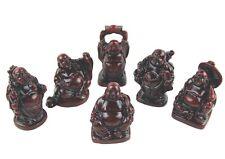 SET OF SIX MEDIUM (2 inch) LUCKY BUDDHA ORNAMENTS IN BURGUNDY RED BUDDHAS