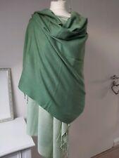 Pashmina XXL Tashia London Schal Tuch Überwurf 100%Pashmina grün Nepal
