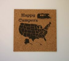 USA Map Etched Cork Board Push Pin Bulletin Board Happy Campers Air Stream RV