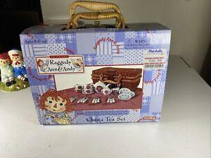 RARE! SCHYLLING Raggedy Ann Andy Picnic China  Mini Tea Set 4 Wicker Basket JJ