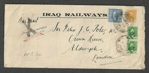 IRAQ TO UK MULTIFRANKED RAILWAYS COVER 1932