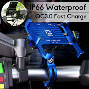 Aluminium Motorcycle Phone Holder Mount QC3.0 Fast USB Charger IP66  A
