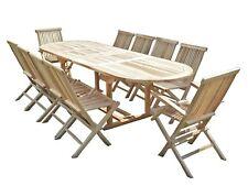 Salon de jardin en teck ensemble table HENUA + 8 chaises + 2 fauteuils JALANG