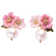 1 Pair Ladies Jewelry Elegant Cute Rhinestone Ear Stud Pearl Flower Earring Gift