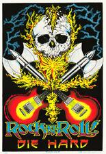 POSTER: MUSIC: ROCK N ROLL  - DIE HARD - BLACKLITE - FLOCKED  #1660F  LP47 H