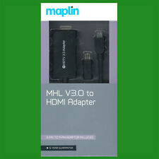 MHL V3 11 Pin MicroUSB to HDMI Adapter (5 Pin to 11 Pin Adapter included) Maplin
