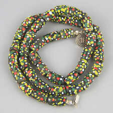 Newly Strung Vintage African Glass Polkadot Bead Necklace w Sterling Silver Clas
