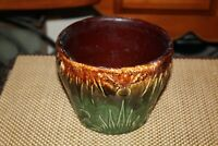 Antique Majolica Pottery Garden Planter Brown Green Colors