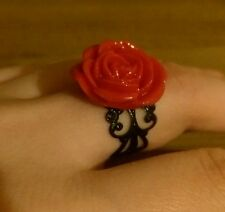 Hermosa Rosa Roja Anillo burlesco Rockabilly Retro Ajustable
