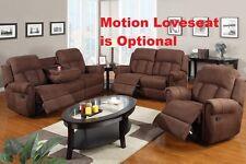 2 Pc Motion Sofa Set Contemporary Chocolate Sofa Recliner Microfiber Living  Room