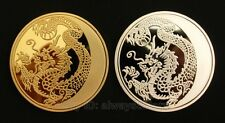 A Pair of 2 Pcs 2014 Russia Lunar Zodiac Dragon Gold & Silver Plated Coins Token