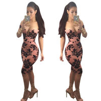 Womens off shoulder V neck floral print bodycon club party cocktail dress