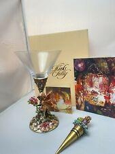 Kirks Folly Fairy Dream Goblet Enamel Martini Glass & Topper w Orig Box & Card
