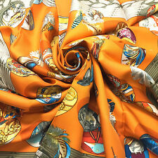 Vintage New HERMES Orange/Multicolor CUVEE D'HERMES Silk Scarf by Latham