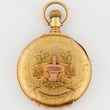 Elgin 14K 16s Tri-Color Solid Gold Flower Basket Box Hinge HC Pocket Watch 51mm