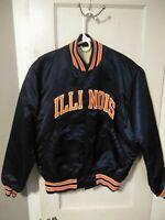 Vintage Starter University of Illinois Fighting Illi Satin Varsity Jacket Size L