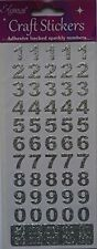 Eleganze Craft Stickers Bold Numbers Silver Self Adhesive Sparkly
