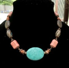 Vintage Coral Turquoise Stone Bead Necklace Hippy Boho Ethnic Festival Beach