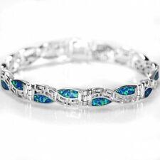 Tolle & ausgefallene Blaue Feuer Opal & 925 Sterling Silber GEOMETRIC ARMBAND 19cm