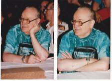Two 4 x 6 photos of FORREST J ACKERMAN at convention, one with JULIUS SCHWARTZ.