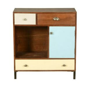 Made to Order Vivid Indian Solid Wood Open Display Mini Cabinet With Drawers