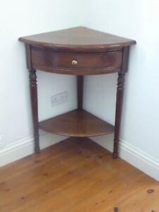 Modern Vintage Oak Corner Table With Single Drawer