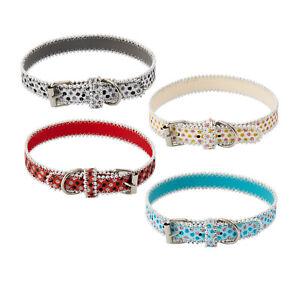 Dog Glittery Sparkle Collar Pearl Stone Fashion Design Adjustable Buckle Pet UK