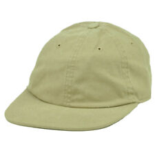 American Needle Beige Flat Bill Sun Buckle Relaxed Hat Cap Adjustable Plain Blan
