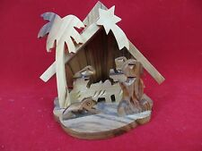 Olive Wood Nativity Set Christmas Small 4 x 3.5  Hand Carved Manger NEW