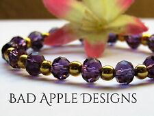 Faceted Sparkling Amethyst Purple Crystal Beaded Gold Stretch Bracelet
