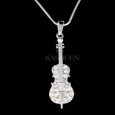 CELLO made with Swarovski Crystal VIOLIN VIOLA Fiddle MUSIC Musical Necklace New