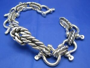Men's Wide Sterling Silver Clevis Bracelet Nautical Design with Sailor Knot USA
