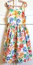 Kellys Kids Dress Sundress SIZE 5 Long Floral Pink Green Blue Orange