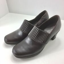 Clarks Bendables 80826 Women's Brown Leather  Slip On Heels Size 8.5M