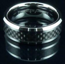 Mens Tungsten Carbide Ring Black Carbon Fiber Band Wedding UK Size Z+2