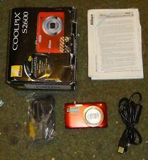 Nikon COOLPIX S2600 14.0MP Red Digital Camera boxed