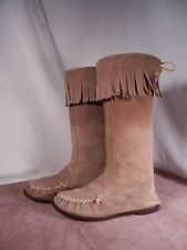 Womens Tall Suede Leather Moccasins Fringe Socklining Hard Rubber Sole 6 M