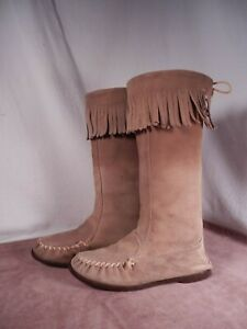 Women's Tall Socklining Suede Leather Moccasins Fringe Hard Rubber Sole 6 M
