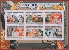FRENCH GUINEA - ERROR, 2009 IMPERF SHEET: BIRDS, OWLS, Animals