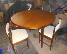 Vintage MID CENTURY Mcintosh CIRCULAR EXTEND TABLE 4 CHAIRS TUCK UNDER EXC COND