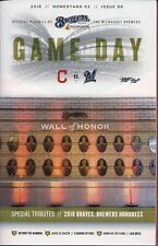 WALL OF HONOR ON COVER MILWAUKEE BREWERS 2018 OFFICIAL GAMEDAY PROGRAM ISSUE #6