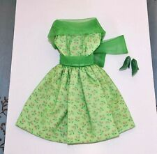 BARBIE CLONE VINTAGE GREEN DRESS WITH SHEER OVERLAY AND FLOWERS