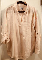 Women's SONOMA Pullover V Neck Collared Tunic Blouse Long Sleeve Rolltab XL